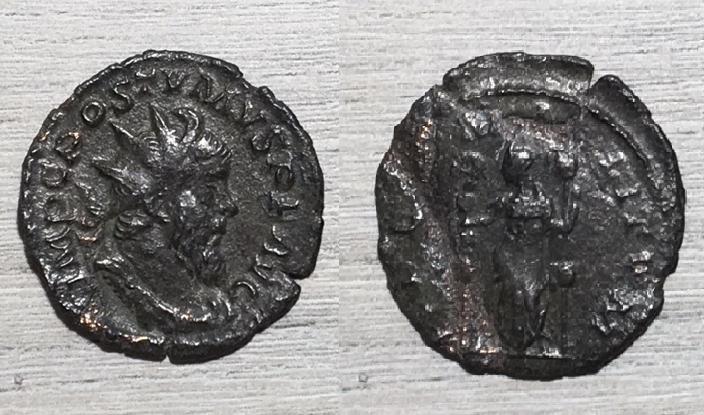 Antoniniano de Póstumo. FIDES MILITVM. Fides estante con estandartes. Trier.  Postum10