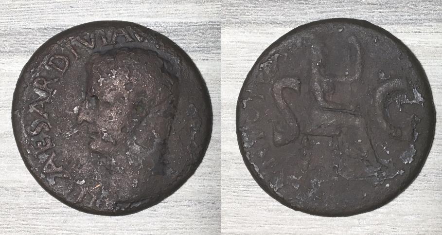As de Tiberio. PONTIF MAXIM TRIBVN POTEST XVII - S C. Livia sedente a dcha. Roma. Tiberi11