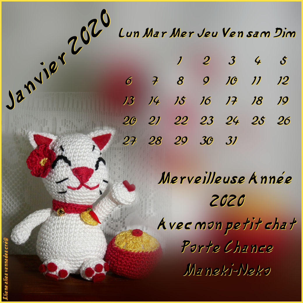 Chat Porte chance au Crochet  Calend23