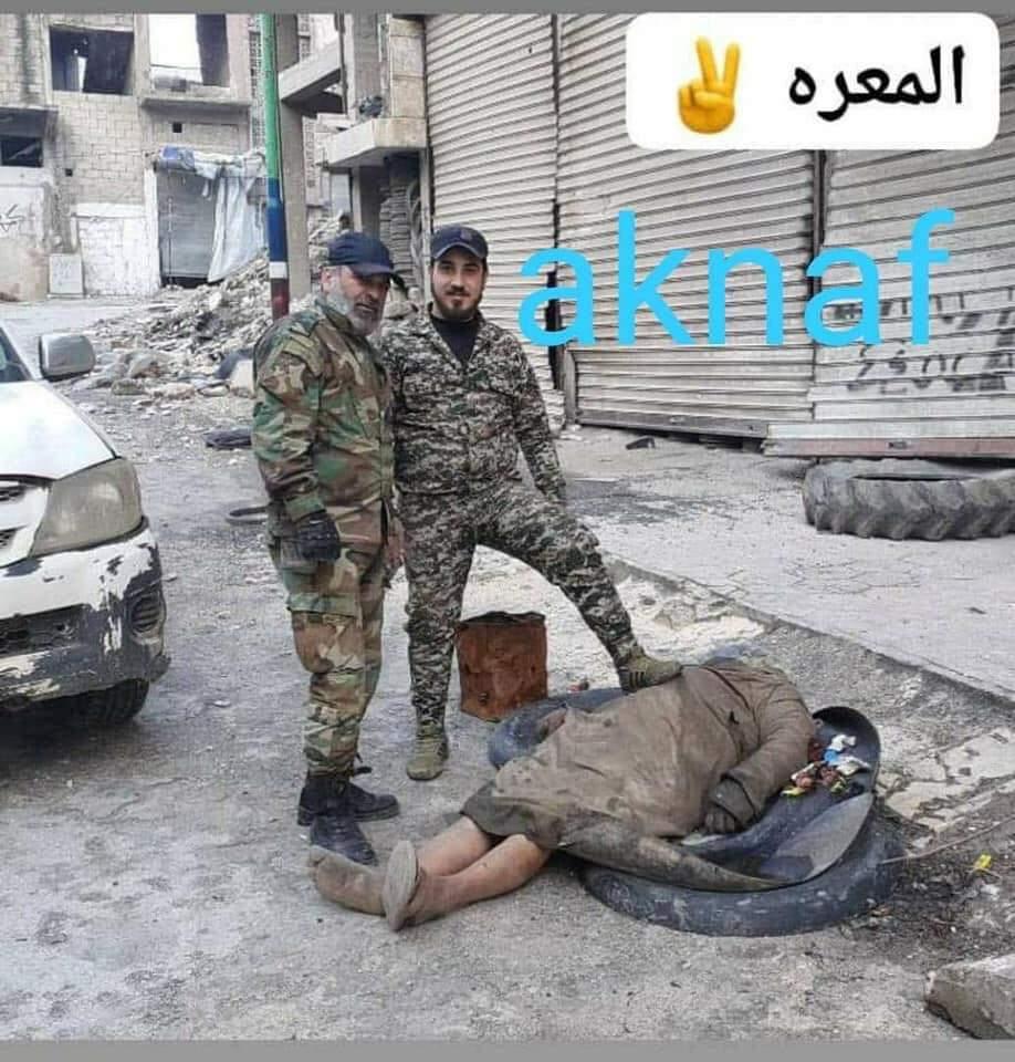 جريمة بحق الإنسانية شاهدوا ماذا فعل جيش بشار برجل مسن في #معرة_النعمان 899fff10
