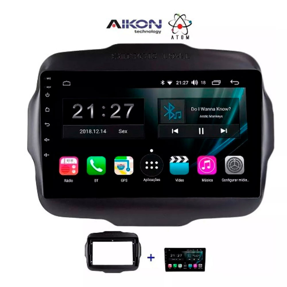 Central Multimidia Jeep Renegade Aikon Atom And 9.0 com Tv Digital Wiitech 0810