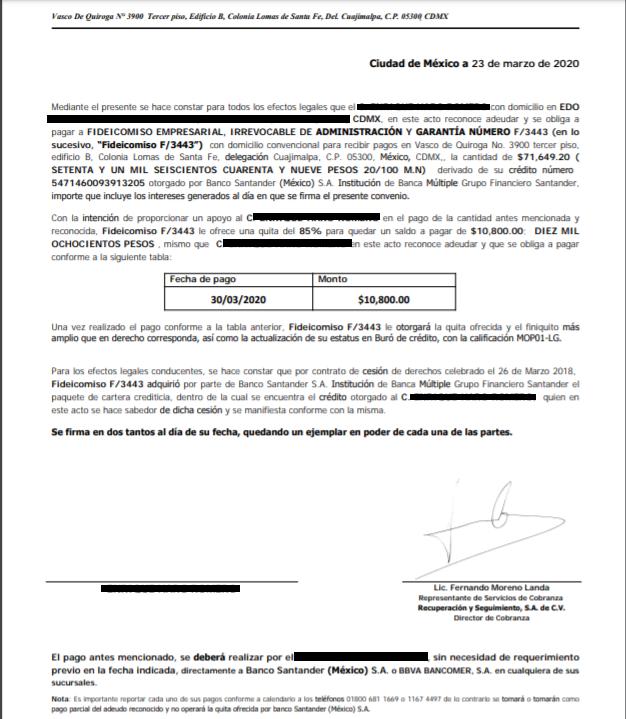 Deuda Santander/Secorse/Fid 34 Carta de Acuerdo 110