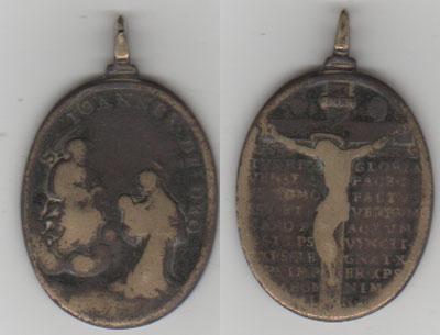 San Juan de Dios / Crucificado con oracion - s. XVIII Medall13