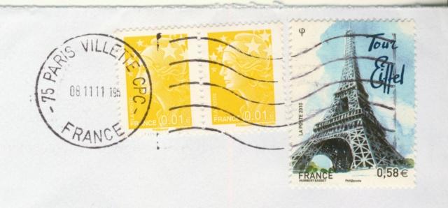 Oblitération avec lignes ondulées avec 10 lignes 15515184