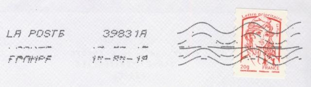 Oblitération avec lignes ondulées avec 10 lignes 15515185