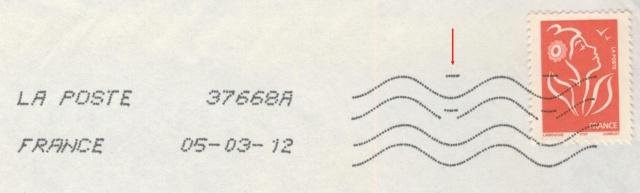 Oblitération avec lignes ondulées avec 10 lignes 15515186