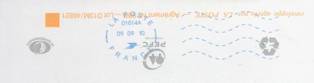 Oblitération avec lignes ondulées avec 10 lignes 15515190