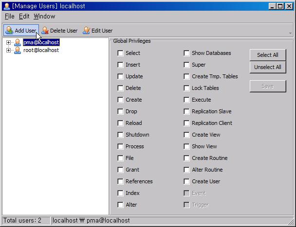 MySQL 관리자 추가 및 비번, 권한 변경 Mysql_11
