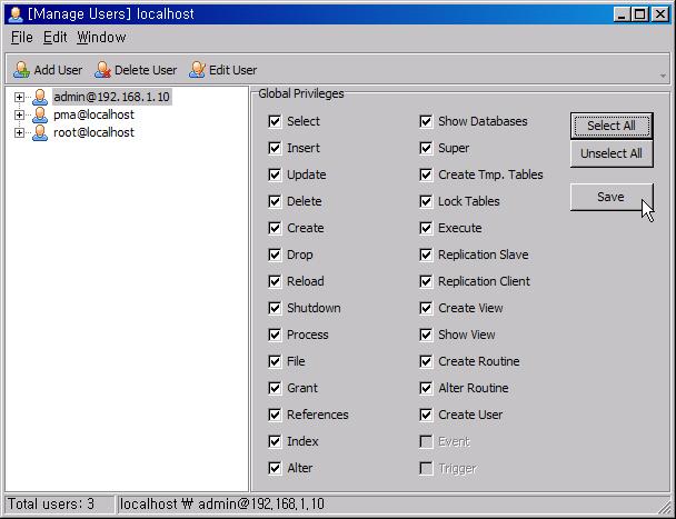 MySQL 관리자 추가 및 비번, 권한 변경 Mysql_13