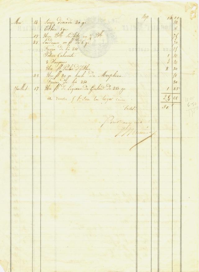 Facture pharmacie 1864-65 Factur16