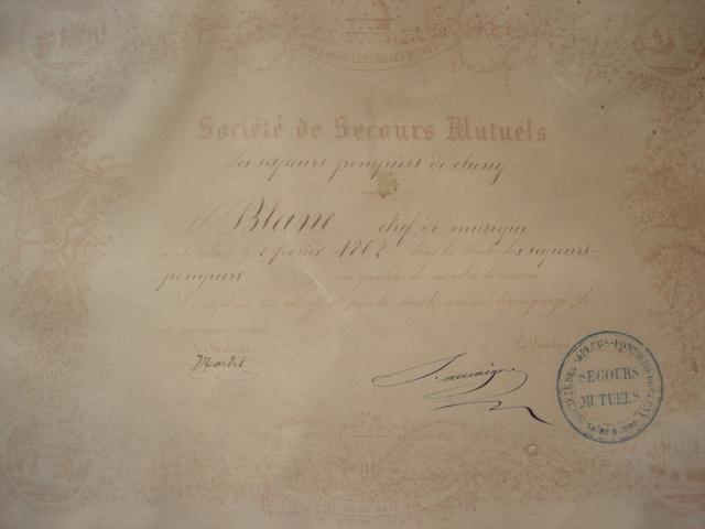 Secours mutuels des Sapeurs Pompiers de Cluny 1862 Fanfar10