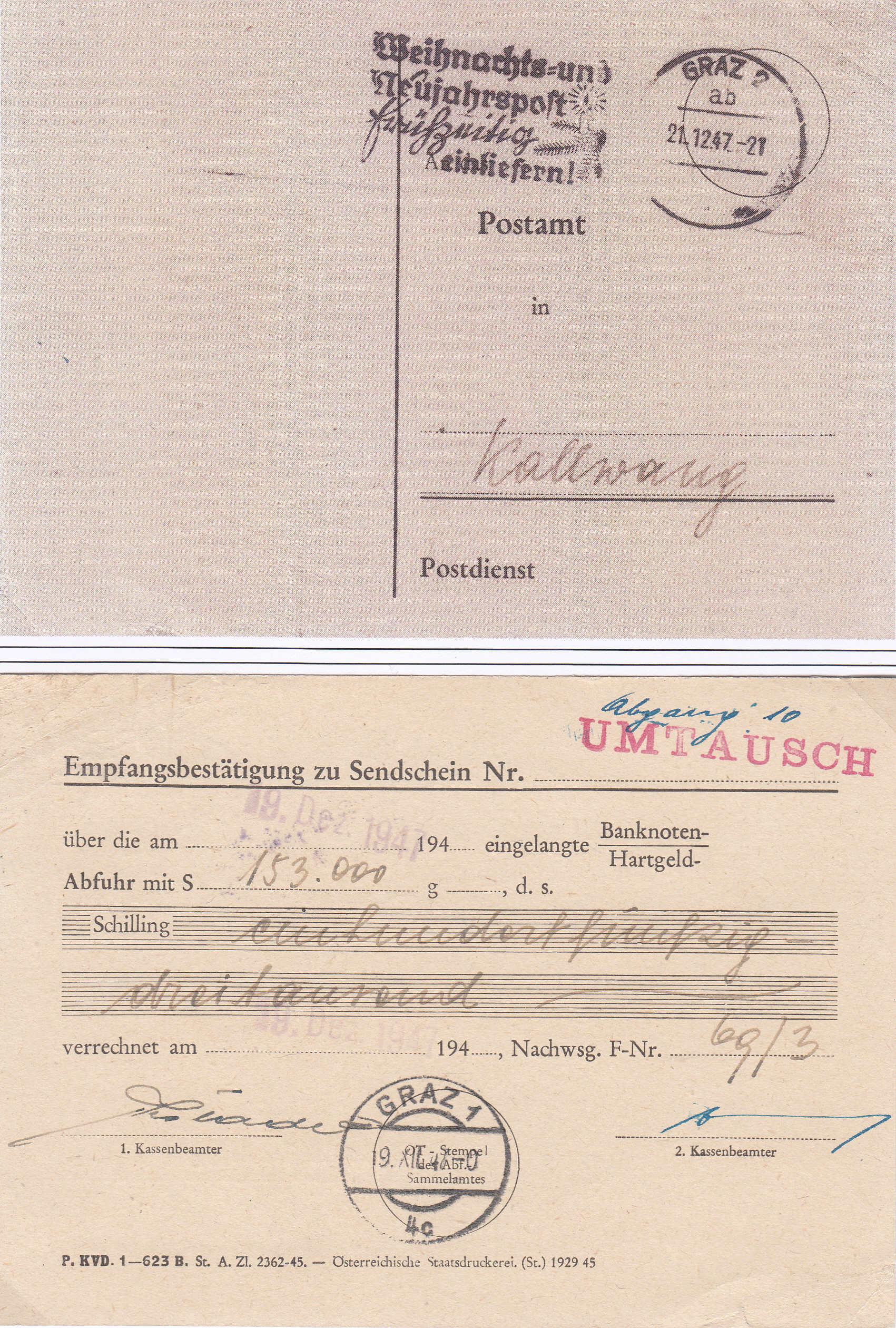 Österreich 2. Währungsreform 10.12.1947 - Belege Img159