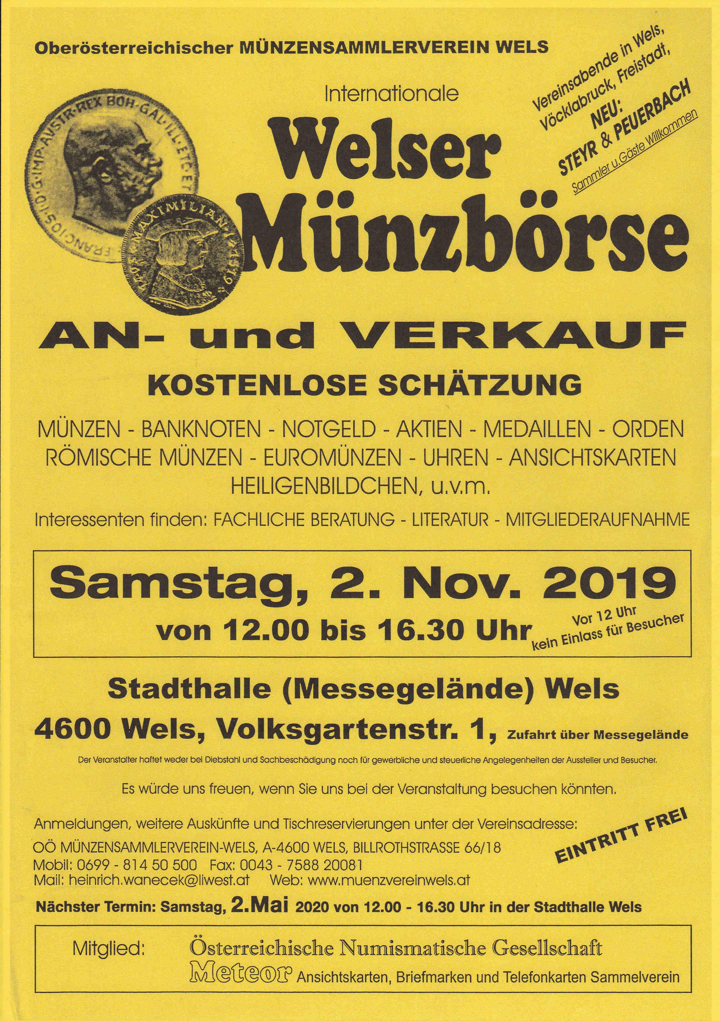 Welser Münzbörse 02.11.2019 Samstag 12:00 bis 16:30 Img232