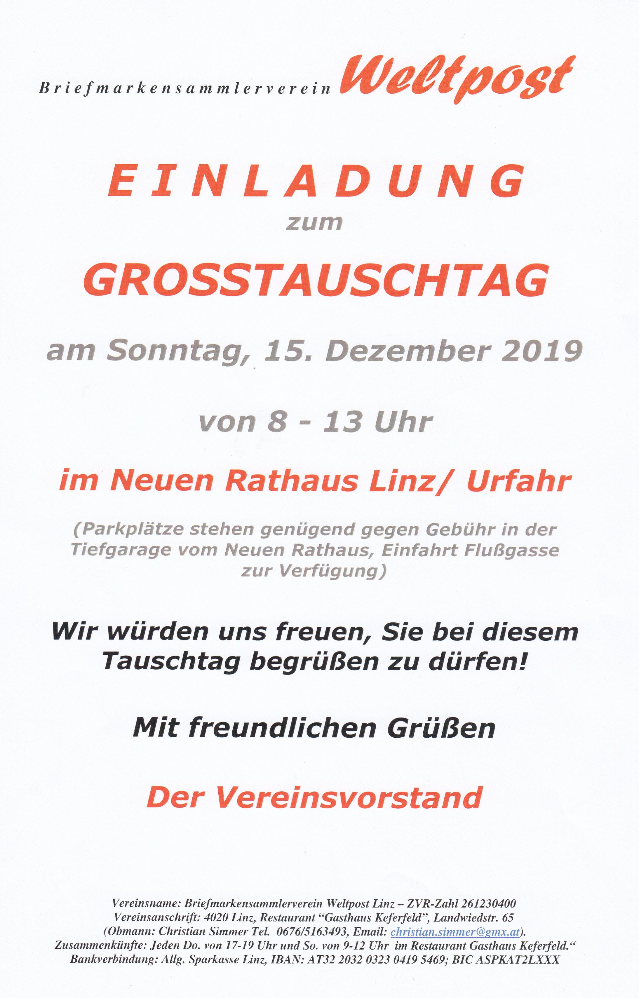 Tauschtag Linz 15.12.2019 8 - 13 Uhr im Neuen Rathaus Linz/Urfahr Img248