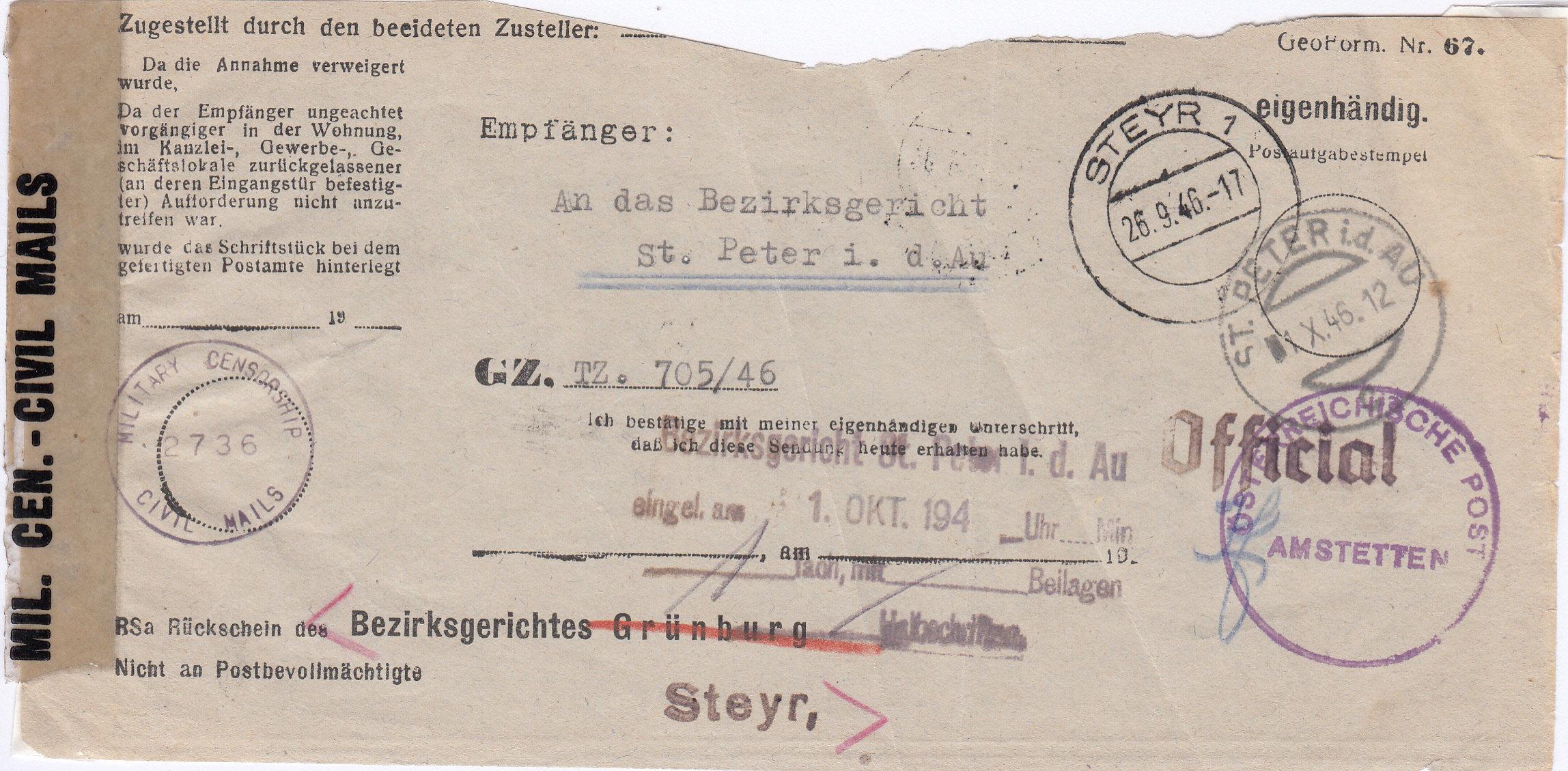 Rückschein Briefe von Gerichten 1946 Img257