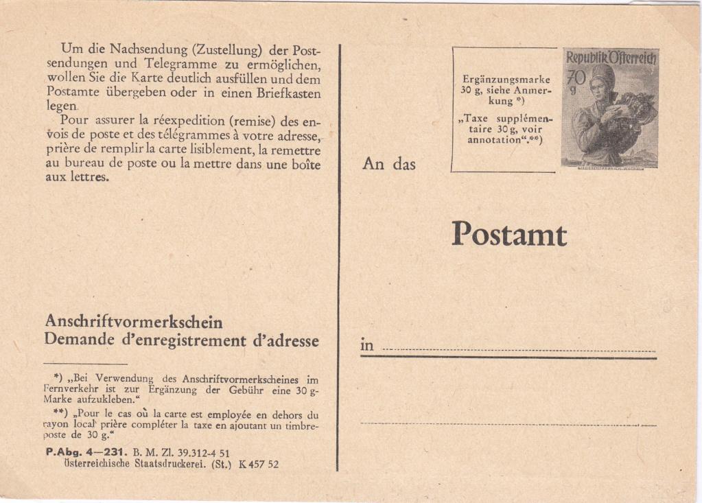 Drucksorten der Post - Nachsendungsantrag Img73