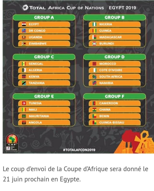 Tirage coupe d'Afrique 2019 20190411