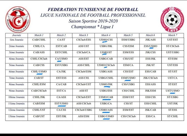 Tunisie Football: Calendrier de la Ligue 1 pour la saison 2019-2020 Foot13