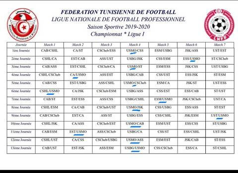 Foot Calendrier Ligue 1.Tunisie Football Calendrier De La Ligue 1 Pour La Saison