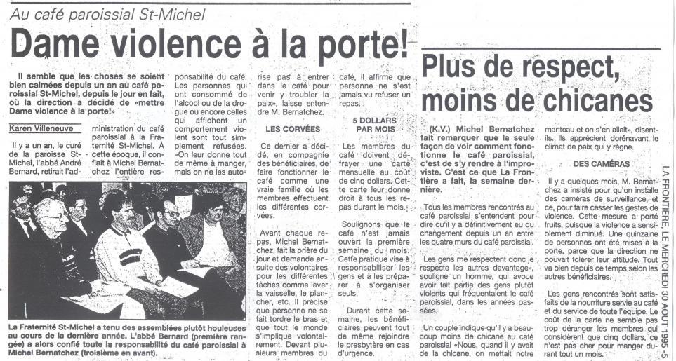 Michel blogue Dame violence à la porte/Article de journal/ Ct_rzo13