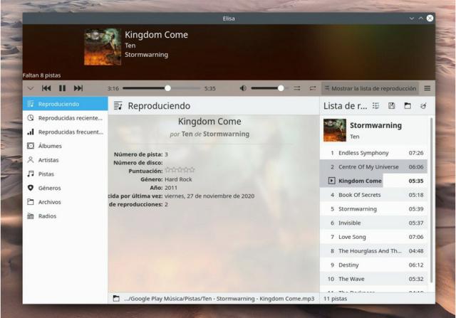 Probando Elisa reproductor de música de KDE 2020-115