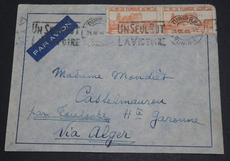 Lettre avion TUNISIE > FRANCE septembre 1944 Lettre12