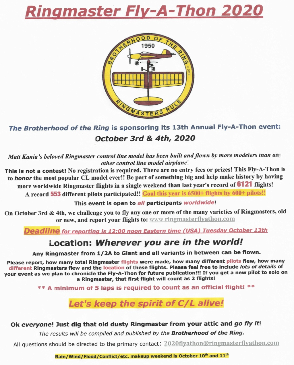 """The 2020 """"World Wide Ringmaster Fly-a-Thon""""  October 3rd & 4th. 2020_r12"""
