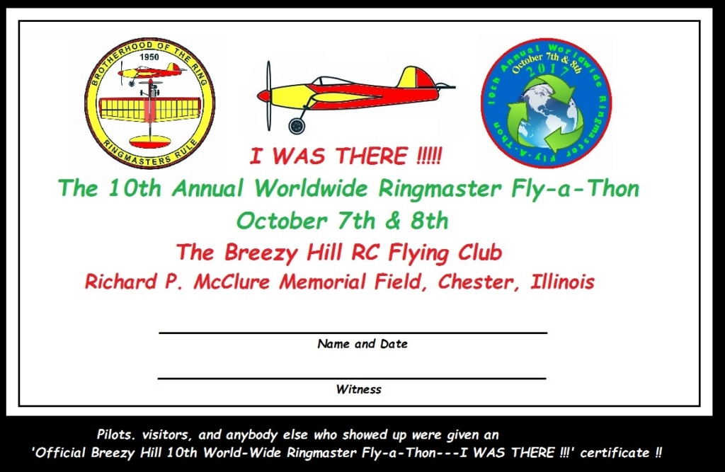"""The 2020 """"World Wide Ringmaster Fly-a-Thon""""  October 3rd & 4th. Certif10"""