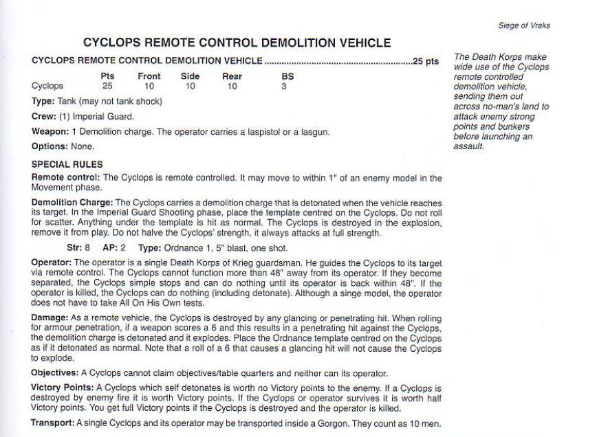 Section de démolition cyclope Rules10