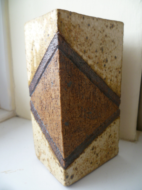 Small 5 inch Geometric design slab vase P1340810