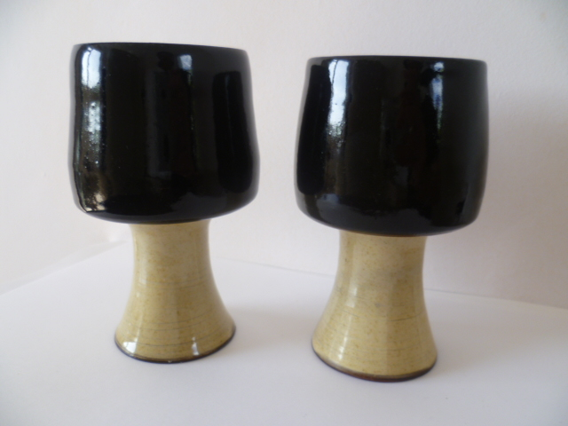 Devonware colour clay - two hollow stem goblets P1520310