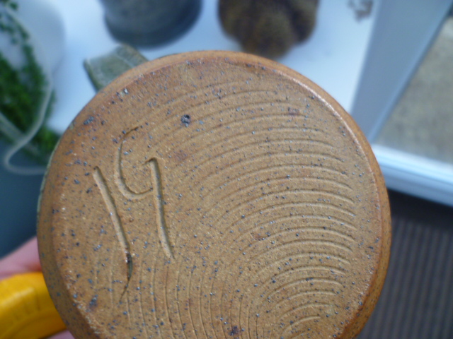 Incised JG and Painted Squiggle Monogram - Jennie Gilbert  P1570710