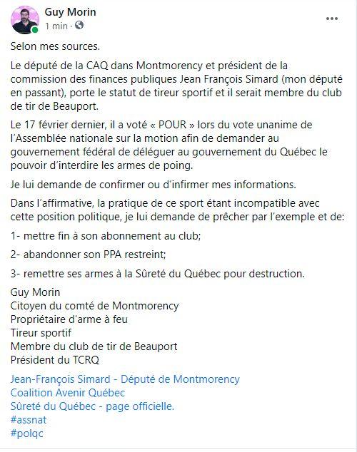 Demande au Député Jean Francois Simard de la CAQ Lettre11