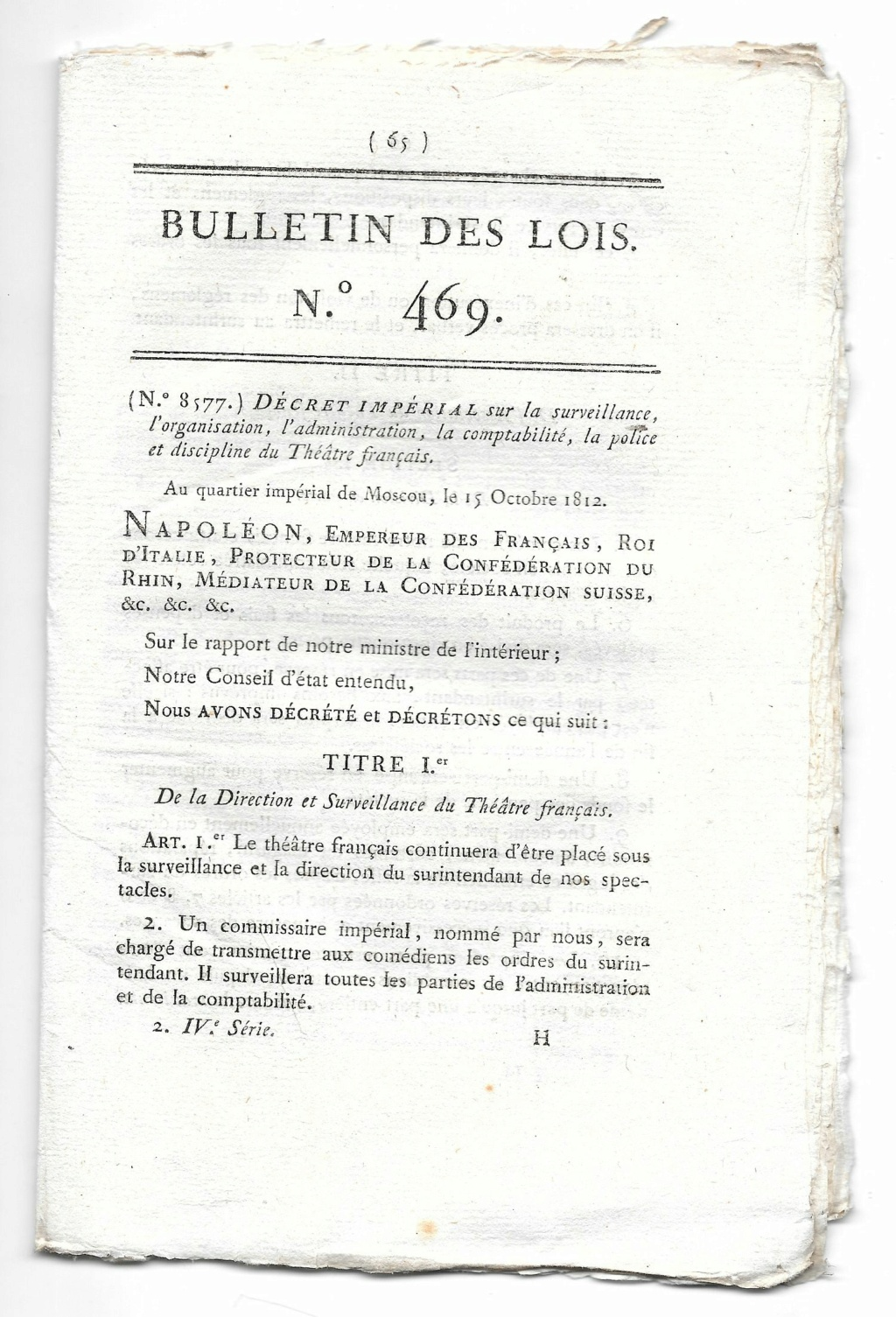 L'organisation du théatre français Moscou 15 octobre 1812 132_4610