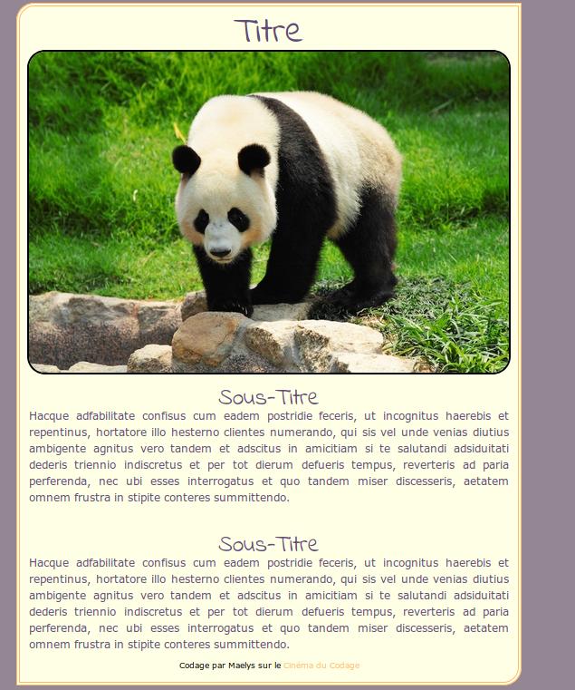 Fiche de texte avec un panda Captur30
