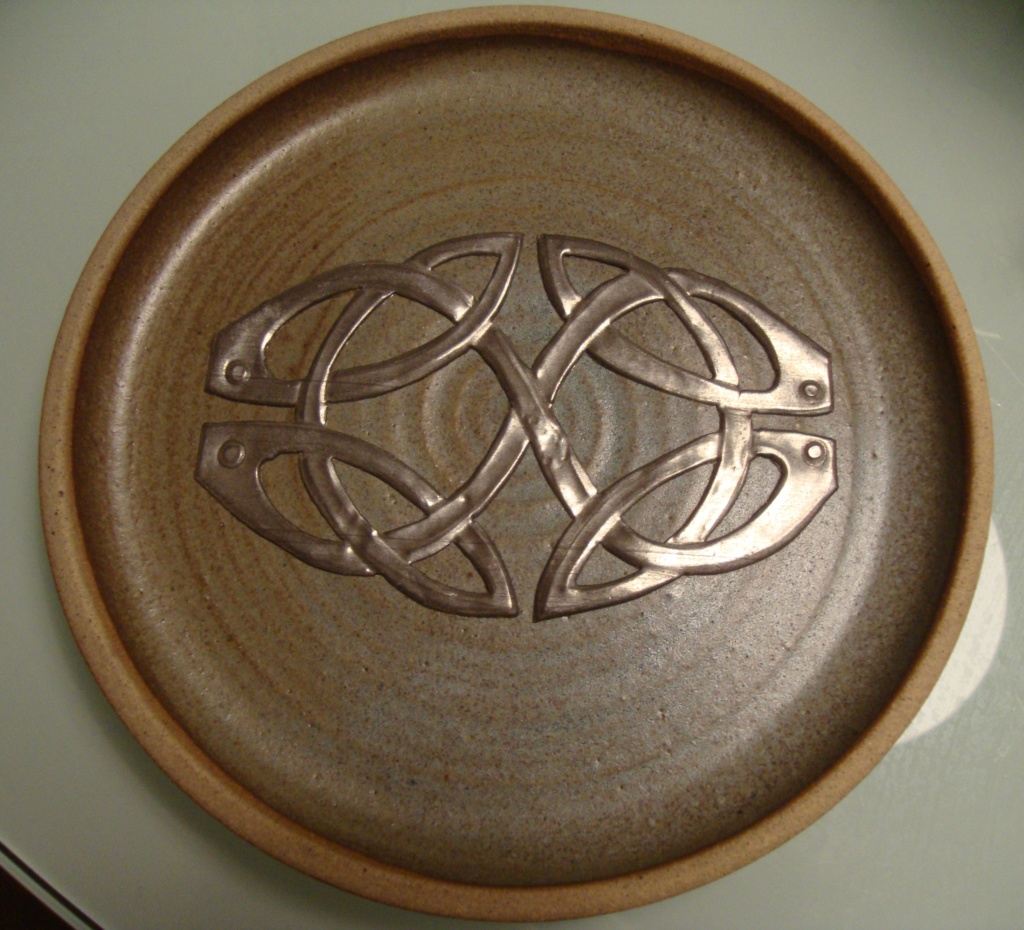 plate with applied Celtic metal decoration - Joan Usher  01010