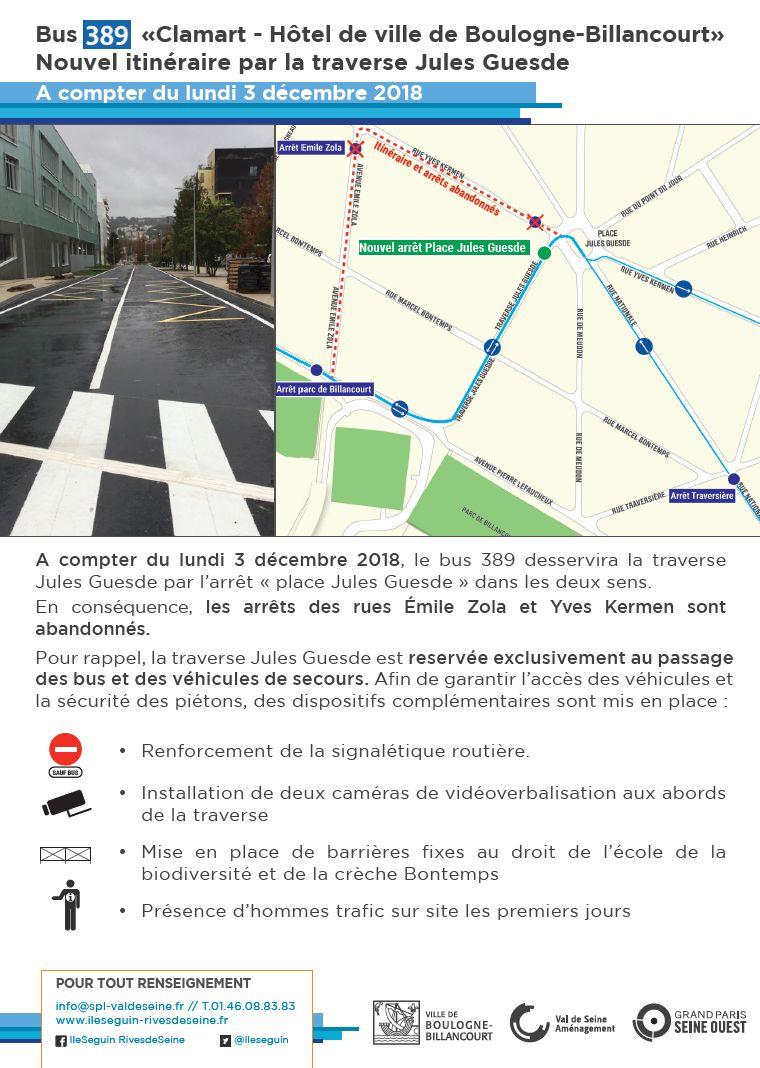 Bus 389 - Clamart - Trapèze - Hôtel de ville Boulogne-Billancourt Clipb521