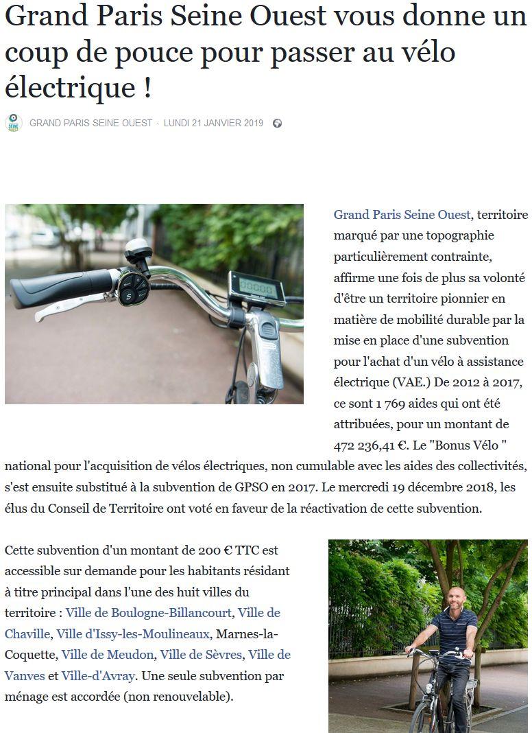 Subvention à l'achat de vélos à assistance électrique Clipb760