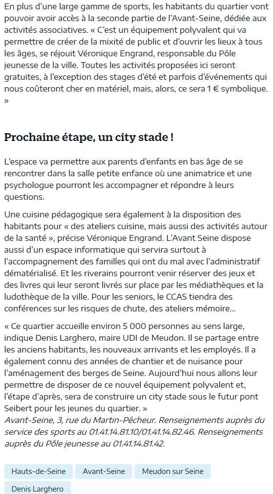 Pôle d'activités et de sport de Meudon : Avant Seine Clipbo69