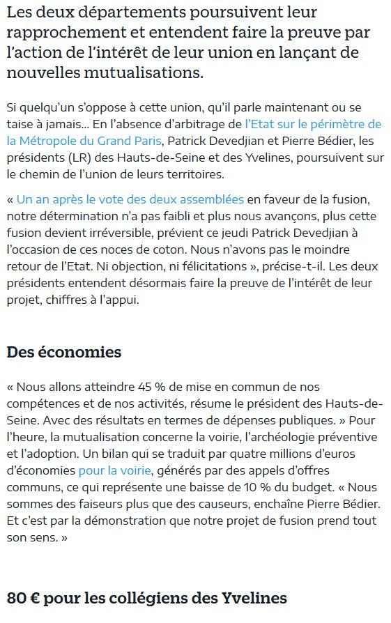 Fusion des départements des Hauts de Seine et des Yvelines Clipbo91