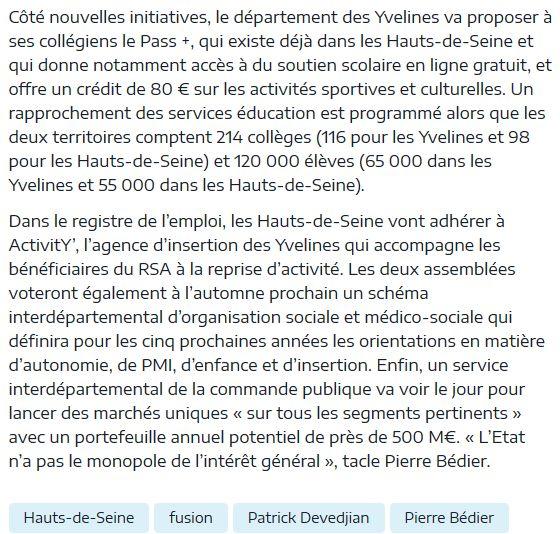 Fusion des départements des Hauts de Seine et des Yvelines Clipbo92