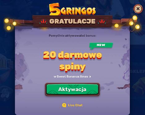 5Gringos kasyno online 20 darmowych spinów bez depozytu (exclusive) Spiny15