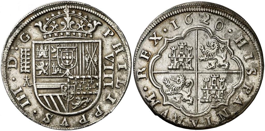 8 Reales de Felipe III de 1620 acuñados en el Real Ingenio de Segovia. Lance dedit. 8_real10