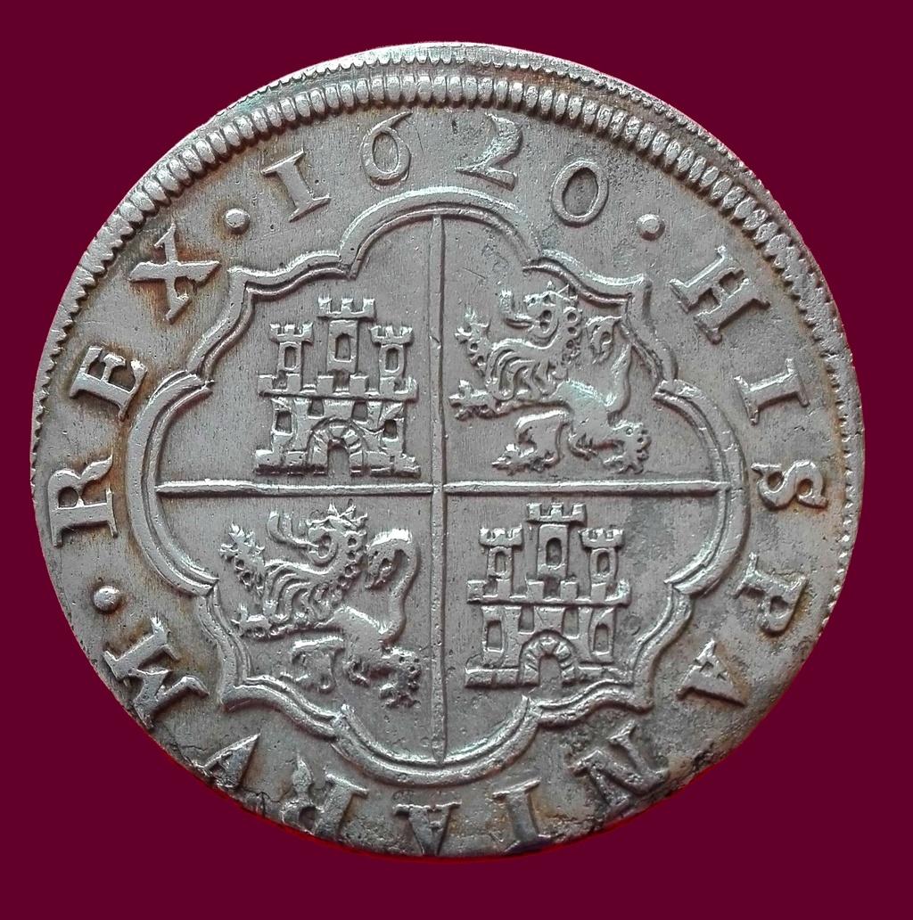 8 Reales de Felipe III de 1620 acuñados en el Real Ingenio de Segovia. Lance dedit. Revers10