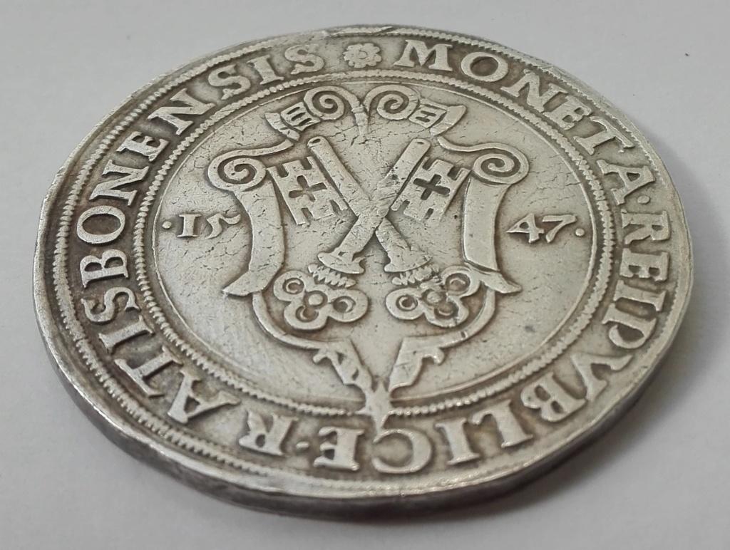 1 Táler de Carlos I de España como Carlos V, de 1547. Obispado de Ratisbona Revers13