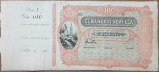 100 reales de vellón Banco de Sevilla 2ª emisión 28 de febrero 1857 100_rs10