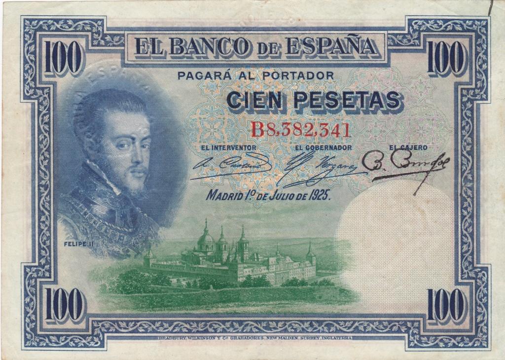 100 pesetas 1925 - Sello Seco Burgos y Arriba España 1936_p10
