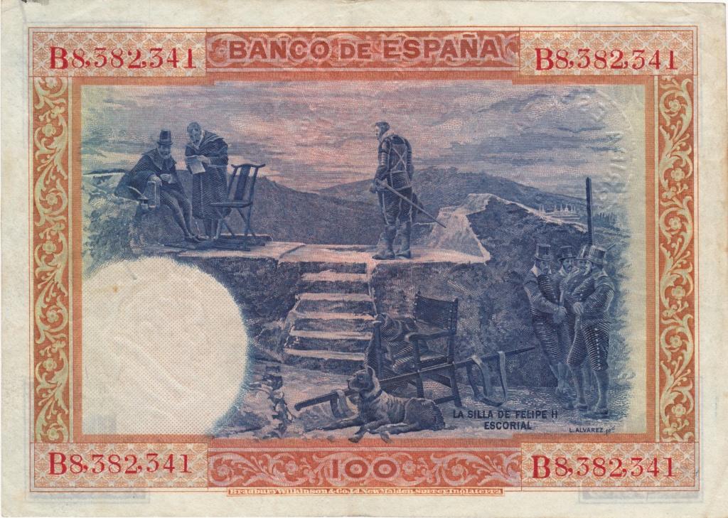 100 pesetas 1925 - Sello Seco Burgos y Arriba España 1936_p11