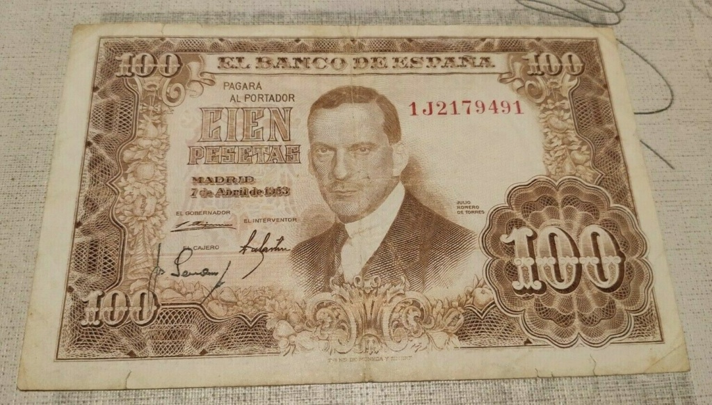Investigación - Billetes de 100 pts 1953 Romero de Torres 1j10