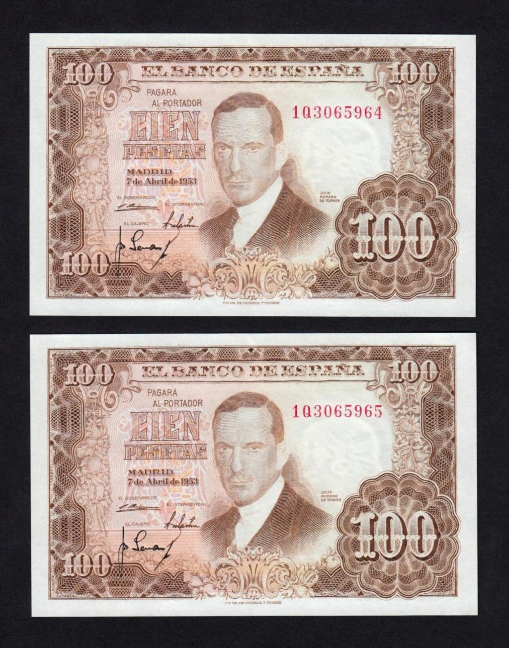 Investigación - Billetes de 100 pts 1953 Romero de Torres 1q10